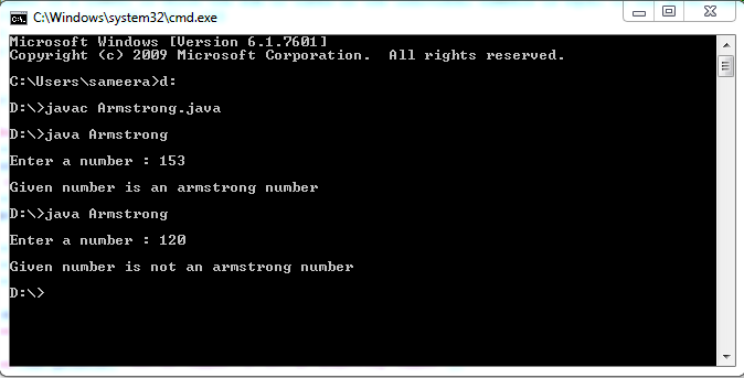 Java Program Armstrong number