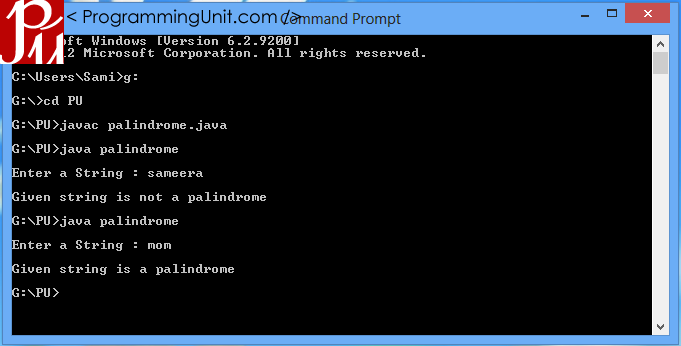 Java Palindrome Program